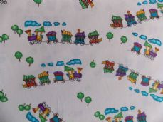 TRAIN CHOO CHOO MULTI COLOUR CHILDRENS FABRIC 100% COTTON PER 1 METRE